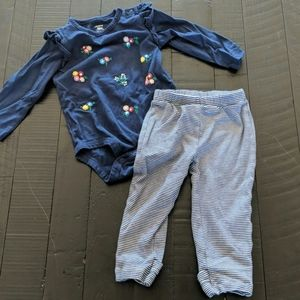 Carter's long sleeve onesie and leggings outfit